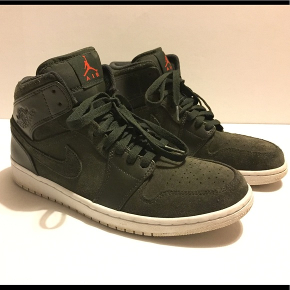 Nike Air Jordan Olive Green Suede Dunks